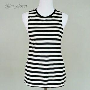 Striped Muscle Tee - Cream/Black